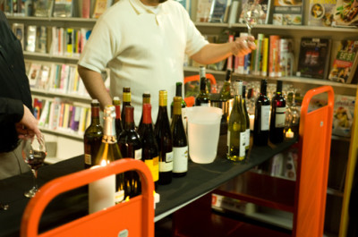 Wine and books and library carts W